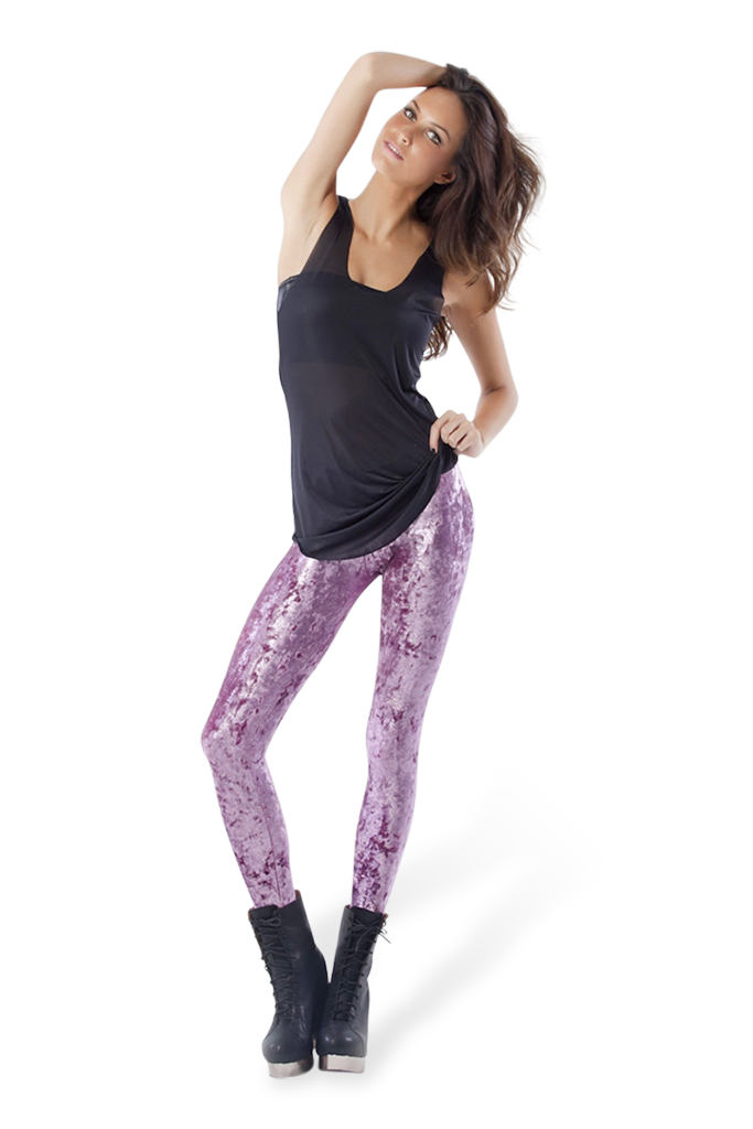 Metallic Velvet Rose Leggings
