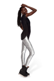 Metallic Velvet Silver Leggings