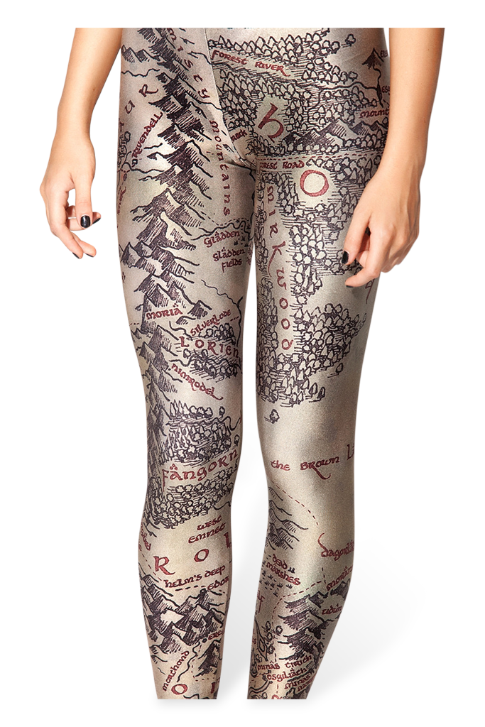 Middle Earth Map Leggings Black Milk Clothing – Map of Middle Earth