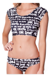 Nylon vs. Death 2 Piece Black and White Swimsuit Top