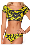 Nylon vs. Death 2 Piece Black and Yellow Swimsuit Top