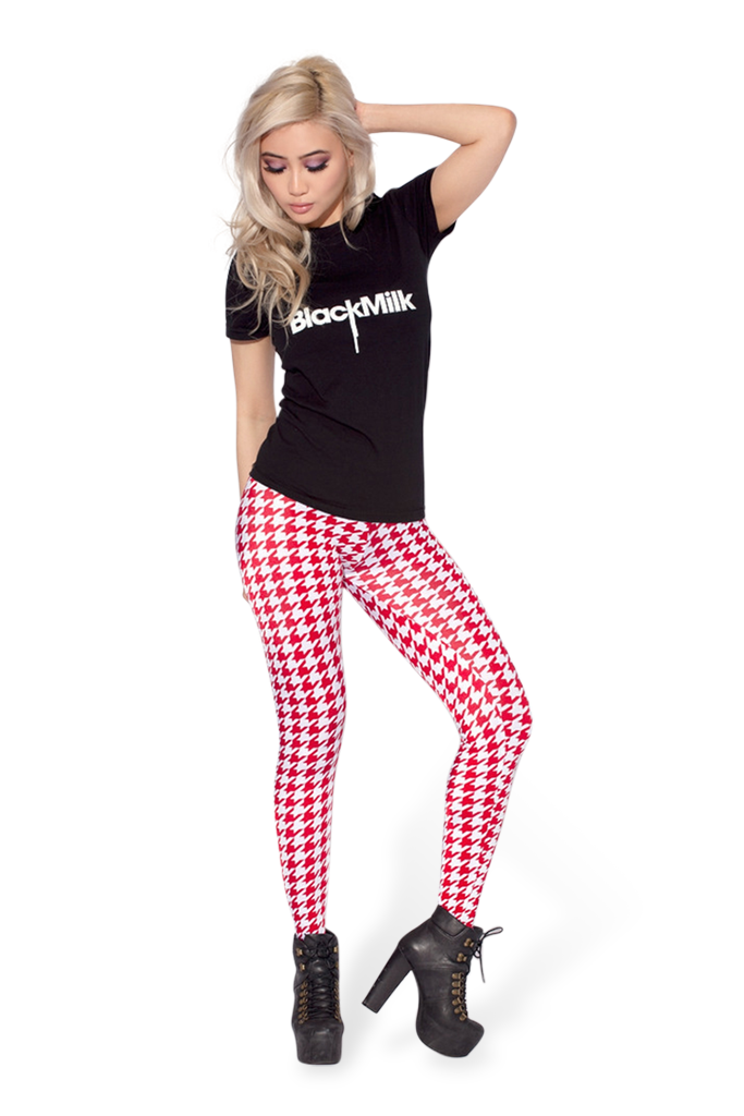 Houndstooth Red Leggings