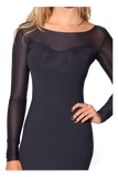 Sheer Top Long Sleeve Matte Dress
