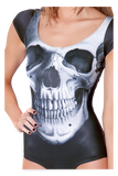 Skull Black Cap Sleeve Swimsuit