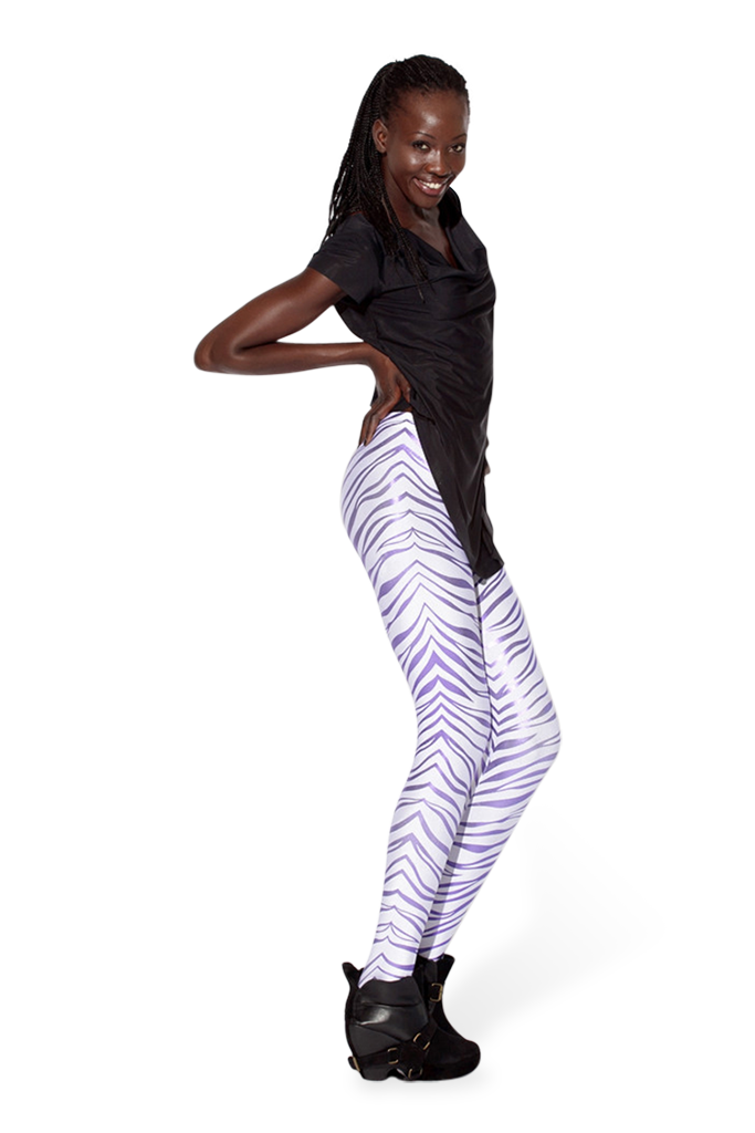 Snow Zebra Purple Leggings