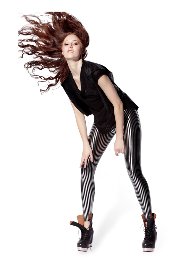 Stripes Vertical Silver Leggings