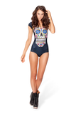 Sugar Skull Black Cap Sleeve Swimsuit