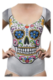 Sugar Skull Grey Capped Sleeve Swimsuit