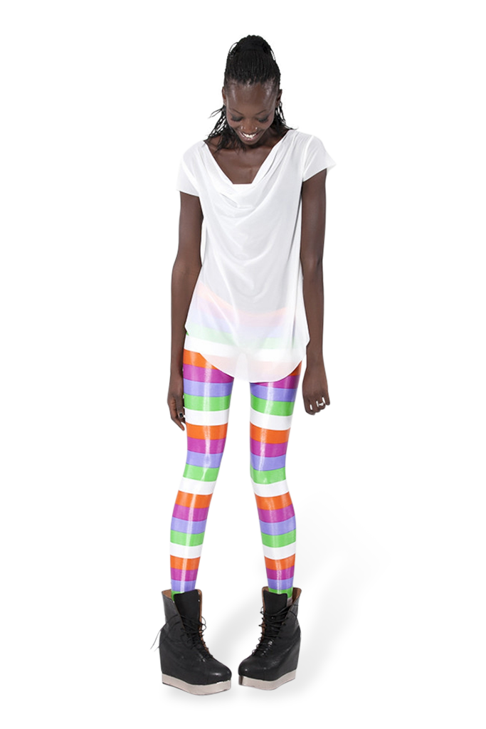 Wet Look Beach Stripe Leggings