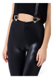 Wet Look High Waisted Overall Leggings