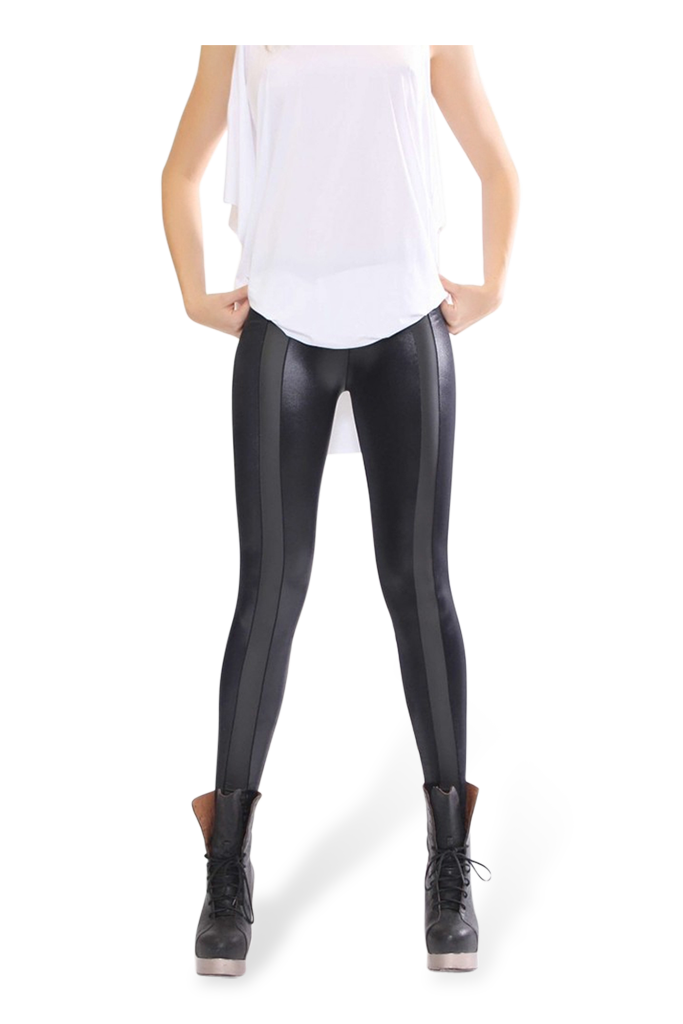 Wet Look Vinyl Stripe Leggings