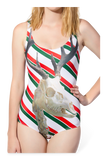 Zombie Rudolph Photo Bombing your Candy Cane Swimsuit