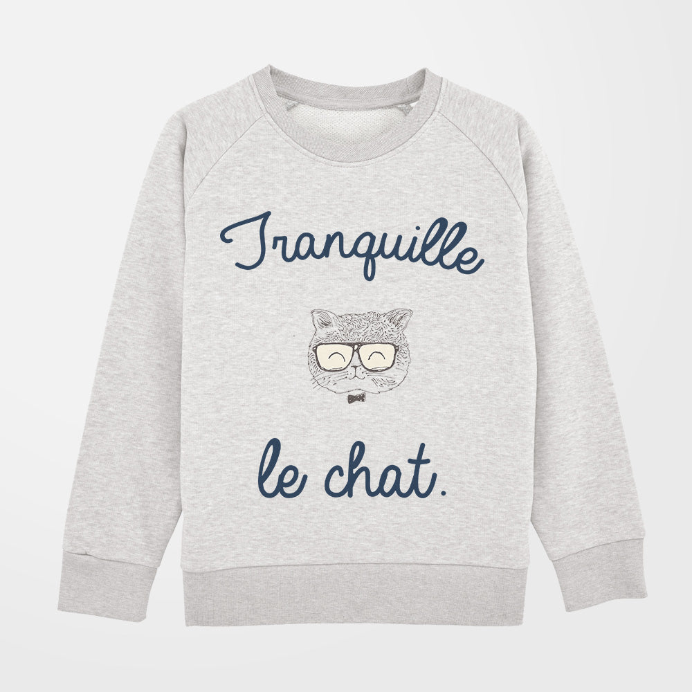 Pull - Tranquille le chat - fille - blanc gris
