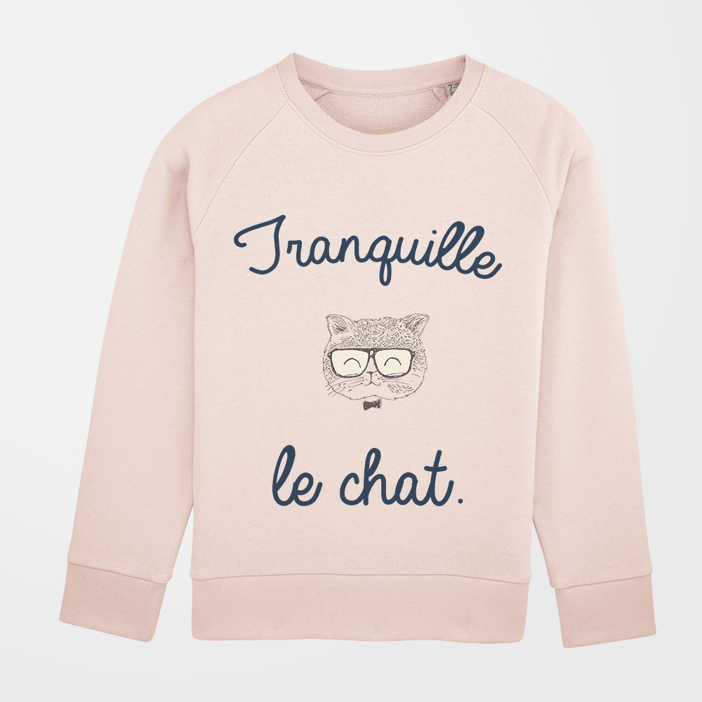 Pull - Tranquille le chat - fille - rose pale