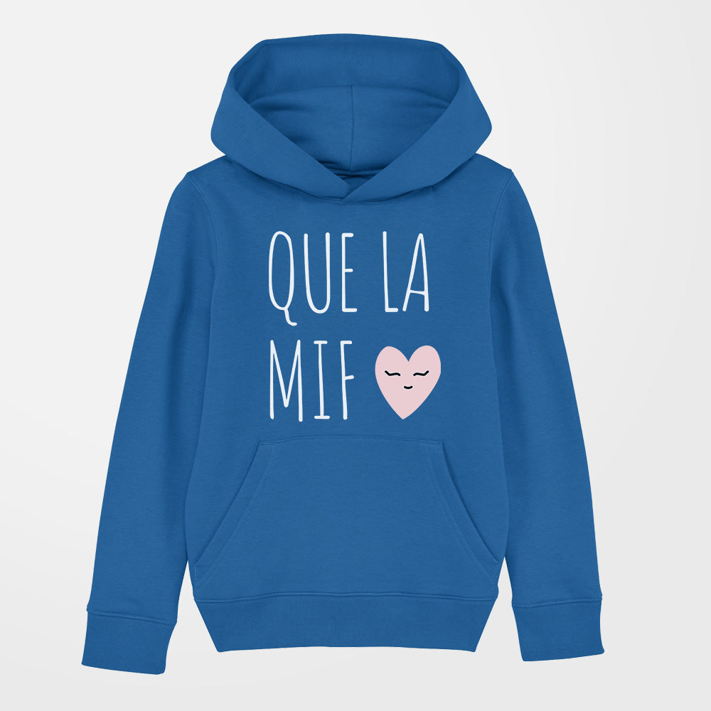 sweat à capuche fille que la mif bleu royale