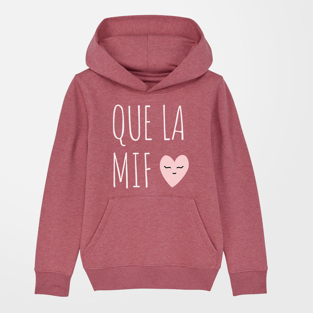 sweat à capuche fille que la mif rouge