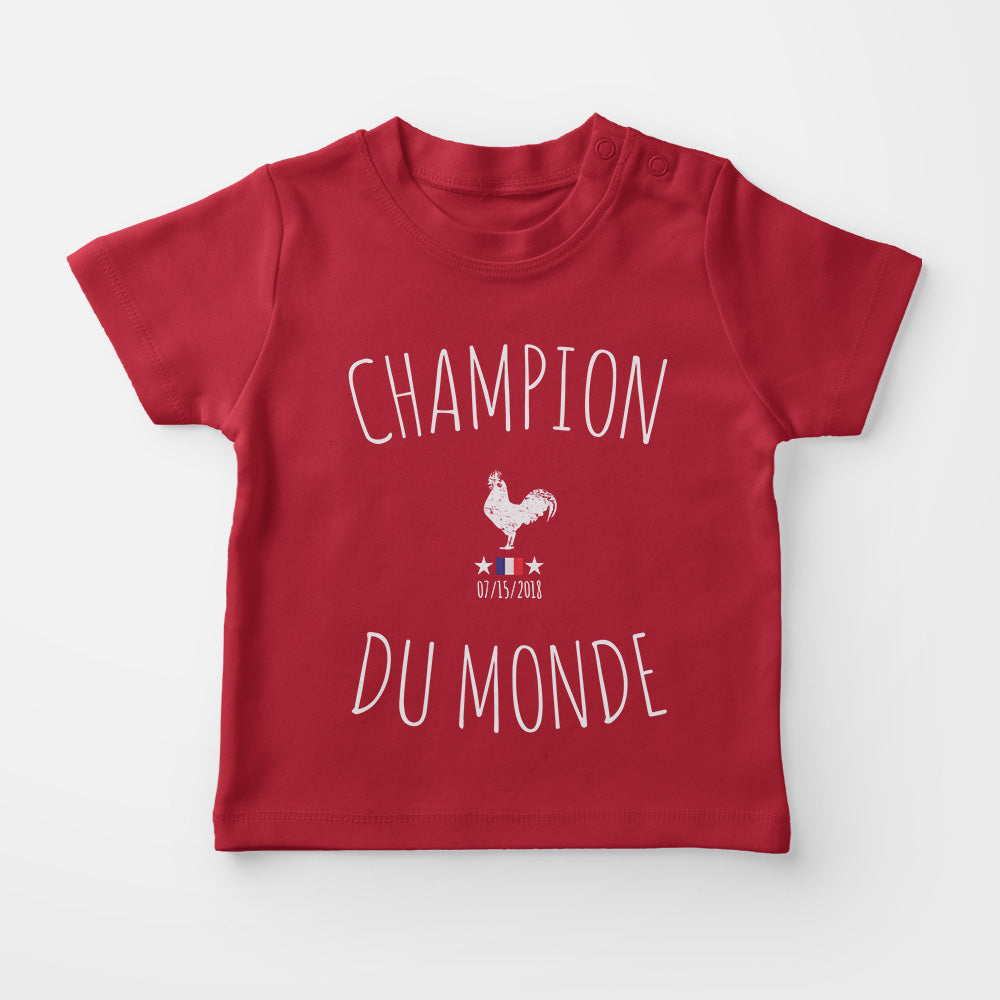 t-shirt bébé - Champion du Monde - rouge