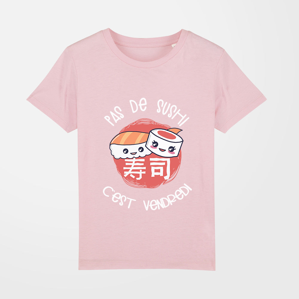 t shirt fille pas de sushi rose