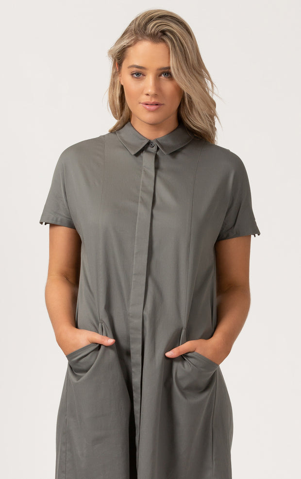 3XDRY DRAPE SHIRT DRESS