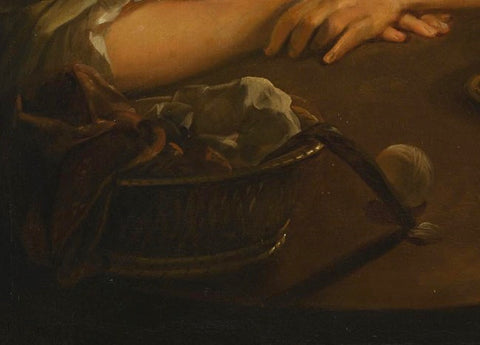 The sewing basked further emphasize the domestic character of the scene.