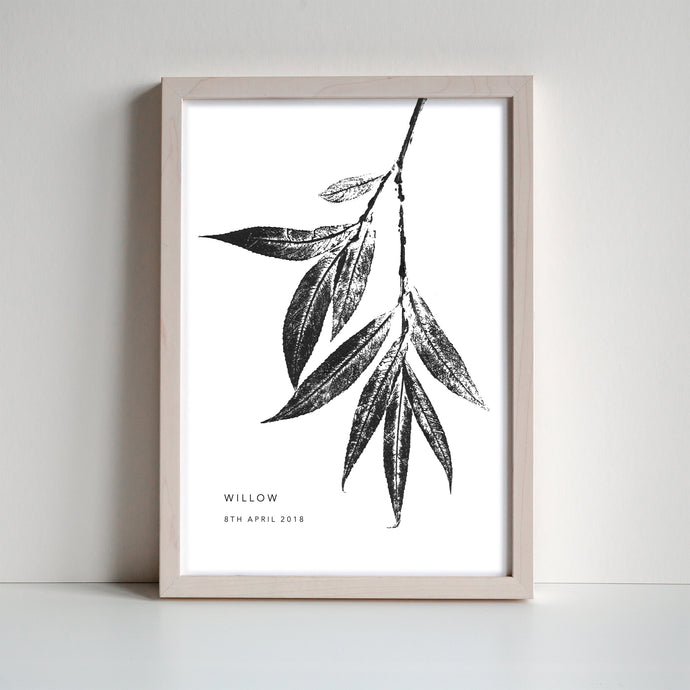 Willow Leaf Personalised Print | 2 colour options