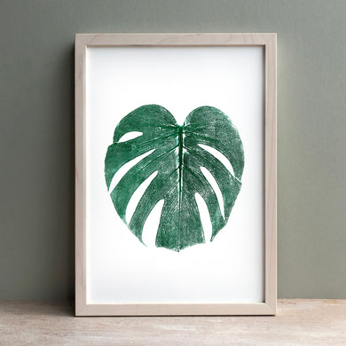 Monstera Leaf Print | Green | Black