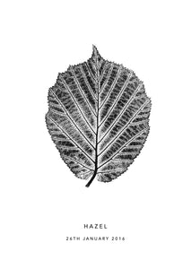 Hazel Leaf Personalised Print | Brown | Black