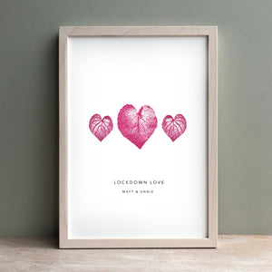 Heart Violet Leaves Personalised Print | Pink| Green | Black