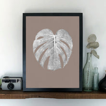 Load image into Gallery viewer, Monstera Leaf Print - White/Sand