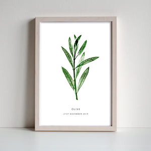 Olive Personalised Leaf Print | 2 colour options