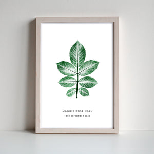 Rose Leaf Personalised Print | 3 colour options