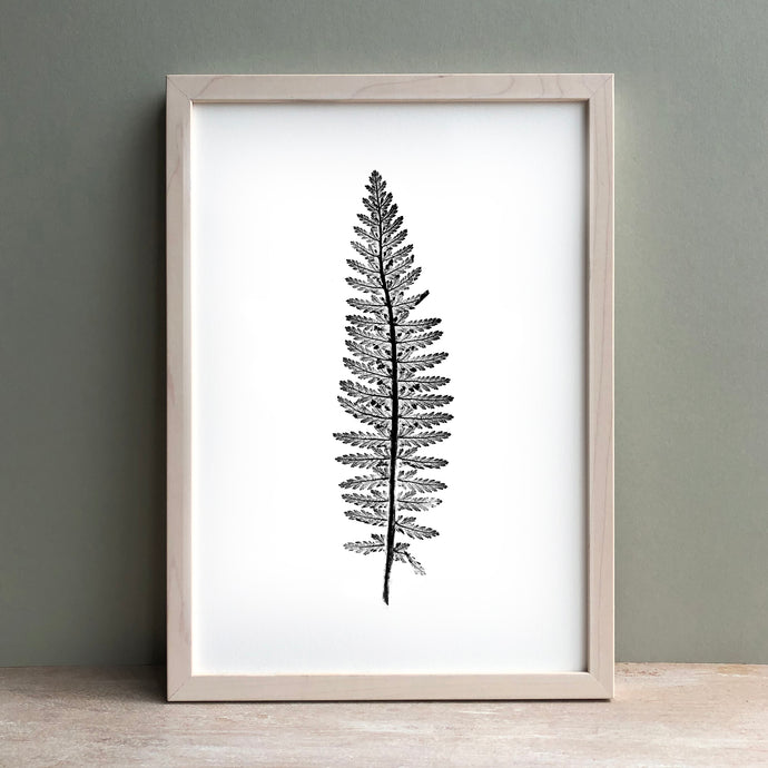 Tall Fern Plant Print | Black | Green