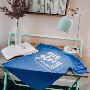 His Glory Is Enough V-Neck Tee - Royal Blue