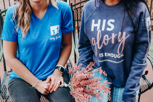His Glory Is Enough Pullover - Heathered Navy