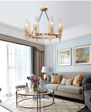 Gold Brass Iron Frame with Crystal Glass Chandelier, HLC0060