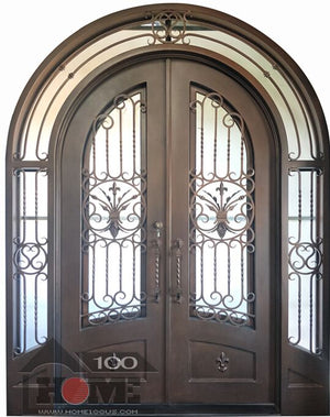 Home100 72''x120'' Double Iron Door and Same Style Yard Gates with Wall Inset Installed in Albuquerque, NM