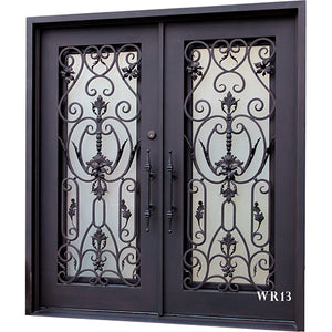 Exterior Wrought Iron Double Entry Door with Double Operable Insulation Glass