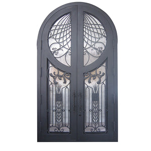 76''x120'' Exterior Wrought Iron Double Entry Door with Double Operable Insulation Glass