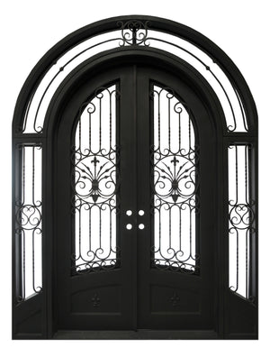 Custom Exterior Wrought Iron Double Entry Door with Double Operable Insulation Glass, HADS025