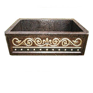 "Hand Hammered Luxury Copper Sink,33""x22""x10""-OD,with Apron"