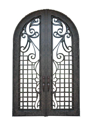 Exterior Wrought Iron Double Entry Door with Double Operable Insulation Glass, HAD1028
