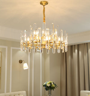 New Design Crystal Chandelier with Gold Brass Stainless Steel Frame, HSC0063-1