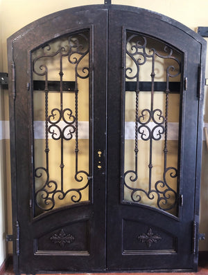 68''x96'' Brand New Exterior Wrought Iron Double Entry Door with Double Operable Insulation Glass, SP001