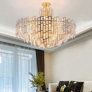 Crystal Chandelier with Golden Stainless Steel Frame-1