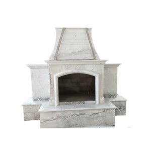 "84""x99"" Luxury Outdoor Stone Fireplace, Nature Outside Marble, Single Side Unit, F005b"