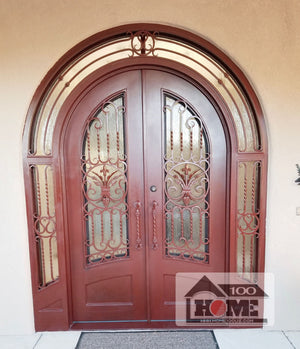 Home100 72''x120'' Double Iron Door and Same Style Yard Gate and Wall Inset with Stainless Steel Screens Installed in Albuquerque, NM