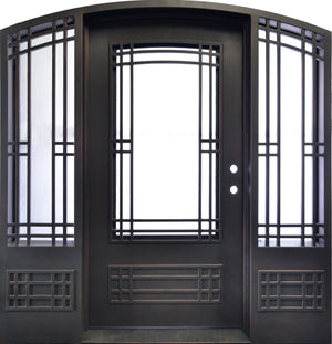 "86""x83"" Exterior Wrought Iron Double Entry Door with Double Operable Insulation Glass, HAD1027"