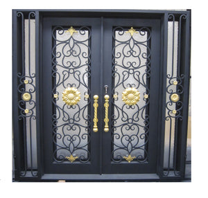 Custom Exterior Wrought Iron Double Entry Door with Double Operable Insulation Glass, HADS1025
