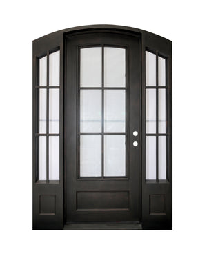 Outdoor Wrought Iron Double Entry Door with Operable Insulation Glass, HSD1020