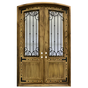 Exterior Wrought Iron  Entry Door with Double Operable Insulation Glass, HAD911